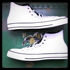 Converse White Shiny Leather High Tops